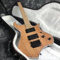 Top Quality Headless Electric Guitar Flamed Maple Top Veneer Active Pickups