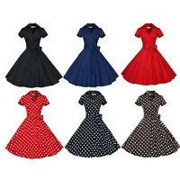 Retro Women 1950s Polka Dot Housewife Pinup Vintage Rockabilly Party Prom Dress