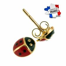 Boucles d'Oreille Coccinelle Rouge Or jaune GF 750*