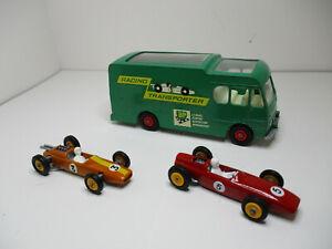 MATCHBOX K-5 RACE CAR TRANSPORTER + ORANGE LOTUS & RED BRM. RESTORED NEAR MINTY!