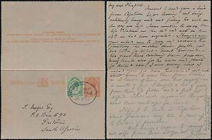 SOUTH WEST AFRICA 1922 SA KG5 STATIONERY LETTERCARD + 1/2d...SWAKOPMUND OVAL