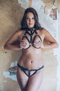 Women Sexy Leather Cupless Chest Bra Cage Top Body Collar Harness G String Belt