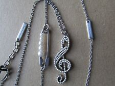 Marc Jacobs Necklace Faux Pearl Musical Note Safety Pin NEW $95
