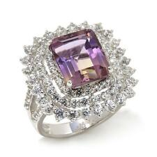 RARITIES CAROL BRODIE 11.16 CTW AMETRINE AND WHITE ZIRCON FRAME RING SIZE 7 HSN