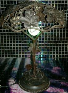 Unique French Art Nouveau Table Lamp Naturalistic Wrought Iron with Vine Grapes