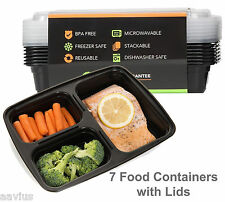 Reusable 3 Compartment Food Portion Plate Lunch Box Containers with Lids 7 Pack