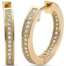 .925 Sterling Silver Hoop Earring Yellow Gold Plated Micro Pave Cz