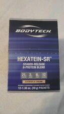12 Count Box Bodytech Hexatein-SR 6-Protein Blend Cookies & Cream 1.4 Oz Each @