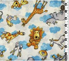 Children's Quilting Fabric Lion Giraffe Rabbits Teddy 100% Cotton Fat Quarters