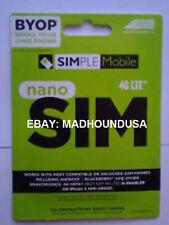 made for 4G/LTE SIMPLE MOBILE Sim Card NANO PREPAID SIM #104