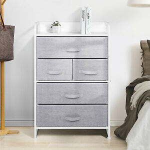 5-Drawers 4-Tier Fabric Chest of Drawer Bedroom Furniture Hallway Storage Grey