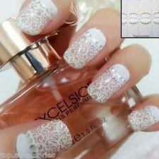 3D White LACE Transparent Nail Art Rhinestone Sticker Flower Floral#06040FreeP&P