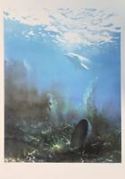 Roland CAT : Fond marin au dauphin - Lithographie originale signée