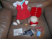 AMERICAN GIRL KIT OUTFIT & ACCESSORIES RED CARDIGAN DRESS HAT MORE (no doll) NEW