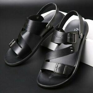 Leather Sandals for Men Summer Sandals Casual Shoes Men Sandel Mens Black US 8