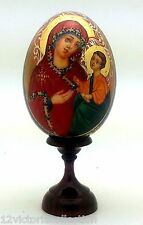 RELIGIOUS WOODEN EGG Russian Hand Carved Hand Painted no Nesting gold leaf