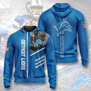 Detroit Lions Hoodies Football Zipper Sweatshirt Sports Hooded Jacket Fans Gift