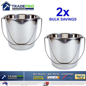 2x Stainless Steel Bucket with Handle 16Ltr HDuty Premium Quality NewModel 16L