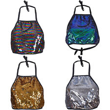 METALLIC HALTER NECK TOP VEST CROP OPEN BACK CLUB FESTIVAL PARTY SEQUIN WOMENS