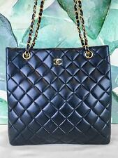 $2900 CHANEL Navy Blue Lambskin Leather North South Tote Quilted Bag Gold VTG