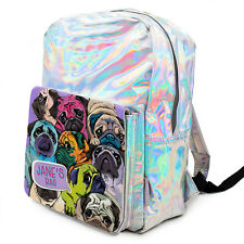 CUTE PUG Bag Girls Shiny Puppy Backpack Silver Holographic School ADD NAME KS227