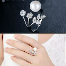 Wedding Jewelry Open Finger Ring Flower Leaves Pearl AAA Zircon Adjustable