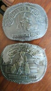 2 Hesston Belt Buckle 1986 &1987 Adult Size Outfit Tournament Rodeo New NIP