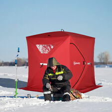 4 Person Portable Ice Fishing Shelter Outdoor Tent w/ Travel Bag, Windows, Red