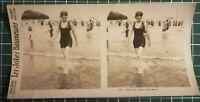 QQ003 Photo stéréoscopique les jolies baigneuses - Circa 1930 femme maillot bain