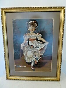 Antique Woolwork Tapestry Needlepoint Young Victorian Dancing Girl
