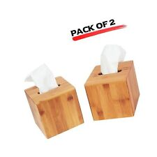 JackCubeDesign Bamboo Square Tissue Box Cover Holder Case Kleenex Cover Holde...