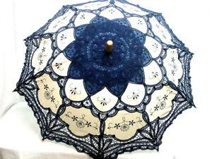 Cotton Lace Parasol Royal Blue battenburg lace Victorian Edwardian vintage style