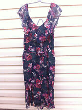 SUZANNE GRAE MULTI COLOURED FLORAL RUFFLE FULLY LINED DRESS SIZE: 10-12? BNWOT