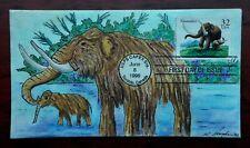 Prehistoric Animals, Mastodon #3079 FDC, hand drawn Kate Hayden cachet