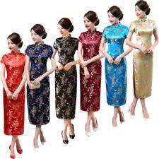 Chinese Classic Women Lady Slim Long Dragon Phoenix Cheongsam Sexy Evening Dress
