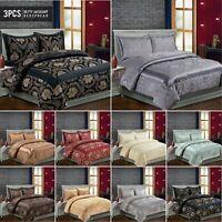 Luxury Reversible 3 Piece Heavy Jacquard Comforter Throw Set + 2 Pillow Shams