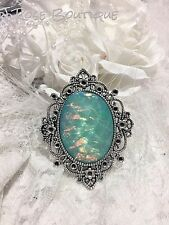 MOTHERS DAY WEDDING AQUA BLUE fire opal victorian PENDANT MOONSTONE Necklace