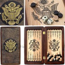 "Top-Quality Handmade Backgammon Board Portable Travel Set 12"" BALD EAGLE Design"