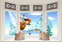 Huge 3D Bay Window Fairy Tale Fantasy Snow Alps View Wall Stickers Decal 543
