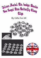 10 20 50 Silver Metal Hat Pin badge Backs Tac Lapel Pins Butterfly Clasp Clips