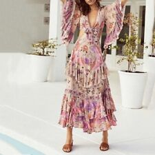 Designer Frill Ruffle Spanish Sleeve Floral backless Plunge Maxi Dress M 10 12