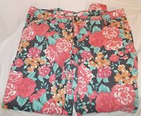 Mossimo Supply Target Jeans Floral Flowers Plus Skinny 22W Stretchy Navy Pink
