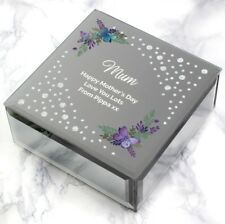 Personalised Any Message Butterfly Diamante Glass Trinket Box Birthday Gift