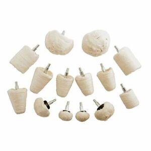 "14pc Polishing Kit 1/4"" Shank Polisher Buffer Cloth Buff Set Assorted Shapes NEW"