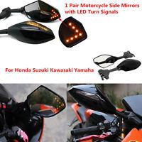 Motorcycle Rearview Side Mirrors LED Turn Signals Indicator for Honda Kawasaki