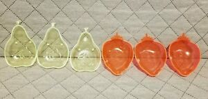 Vintage Retro Neon Plastic Nut / Candy Dishes / Pears And Strawberries
