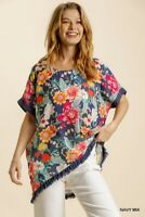 Umgee Navy Floral Print Short Sleeve Fringe Hem Tunic Top Plus Size XL 1X