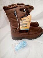New Womens Dark Brown Kamik Brooklyn Snow Boots, Size 10 M Fur Lined Waterproof