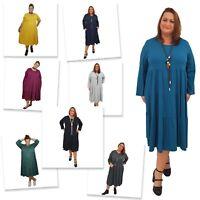Wolfairy Womens Plus Size Midi Dress Lagenlook Loose Summer Long Sleeve Flared