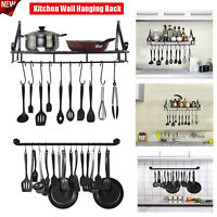 Kitchen Shelf Folding Kitchen Wall Hanging Rack Pot Cookware Storage With 10Hook
